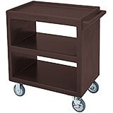 "Dark Brown, 33-1/4"" x 20"" Service Cart, Open, 4 Swivel Casters"