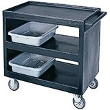 "Black, 37-1/4"" x 21-1/2"" Service Cart, Open, 4 Swivel Casters"