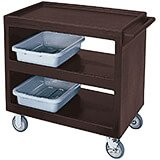 "Dark Brown, 37-1/4"" x 21-1/2"" Service Cart, Open, 4 Swivel Casters"