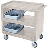 "Gray, 37-1/4"" x 21-1/2"" Service Cart, Open, 4 Swivel Casters"