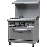 "Stainless Steel Double Burner Gas Stove with Oven and Griddle Combo, 36"" Wide, 130,000 Total BTU"