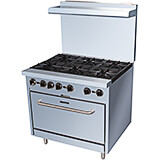 "Stainless Steel 6 Burner Gas Stove with Oven, 36"" Wide, 210,000 Total BTU"