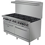 "Stainless Steel 10 Burner Gas Stove with 2 Ovens, 60"" Wide, 360,000 Total BTU"