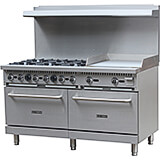 "Stainless Steel 6 Burner Gas Stove with 2 Ovens and Griddle Combo, 60"" Wide, 280,000 Total BTU"