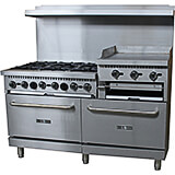 "Stainless Steel 6 Burner Gas Stove with 2 Ovens and Griddle/Broiler Combo, 60"" Wide, 276,000 Total BTU"