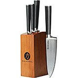 Toffee, Chikara Signature 5-Piece Knife Set, Finished Hardwood Block, Forged 420J2 Blades