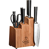 Bamboo, Chikara 8-Piece Knife Set, Finished Hardwood Block, Forged 420J2 Blades