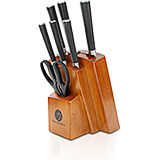 Toffee, Chikara Signature 8-Piece Knife Set, Finished Hardwood Block, Forged 420J2 Blades