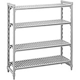 "Speckled Gray, Shelving Starter Unit, 60"" x 24"" x 72"", 4 shelves"