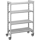 "Speckled Gray, Mobile Shelving Unit, 48"" x 18"" x 67"", 4 Shelves, Premium Casters"