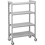 "Speckled Gray, Mobile Shelving Starter Unit, 42"" x 21"" x 67"", 4 Shelves"