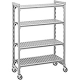 "Speckled Gray, Mobile Shelving, 4 Solid Shelves, 24"" x 48"" x 67"""