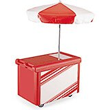 Hot Red, Camcruiser Vending Cart with Umbrella
