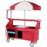 Hot Red, Vending Cart with Umbrella, 4 Pans, 6ft