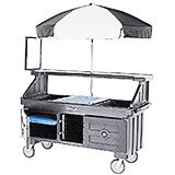 Granite Gray, Vending Cart with Umbrella, 4 Pans, 6ft