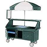 Green, Vending Cart with Umbrella, 1 Pan, 6ft