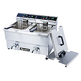 Stainless Steel Double Tank Electric Deep Fryer with Drain Faucet, 208V, 12.68 Qt