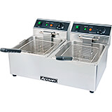 Stainless Steel Double Tank Electric Deep Fryer, 120V, 12.68 Qt
