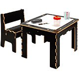 Flip Top Dry Erase And Chalk Kids Table With Bench, Dark Wood