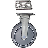 "6"" Fixed Nylon Rigid Caster (with Spacers and Bolts) for Meal Delivery Carts"