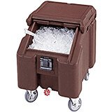 Dark Brown, Ice Bin / Caddy, 100 Lb. Capacity, 4 Swivel Casters