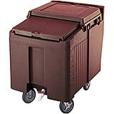 Dark Brown, Ice Bin / Caddy, 125 Lb. Capacity, 2 Swivel Casters