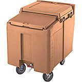 Coffee Beige, Ice Bin / Caddy, 125 Lb. Capacity, 2 Swivel Casters
