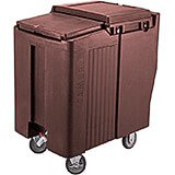 Dark Brown, Tall Ice Bin / Caddy, 125 Lb. Capacity, 2 Swivel Casters