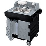 Granite Gray And Black, Portable Hand Sink Cart, Self-Contained, 110V