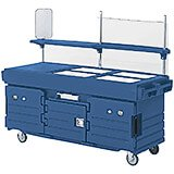 Navy Blue, Mobile Food Kiosk, 4 Food Pan Wells