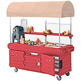 Hot Red, Mobile Food Kiosk with Canopy, 6 Food Pan Wells