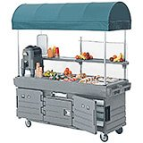 Granite Gray, Mobile Food Kiosk with Canopy, 6 Food Pan Wells