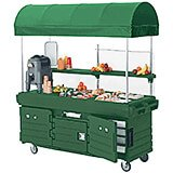 Green, Mobile Food Kiosk with Canopy, 6 Food Pan Wells