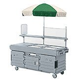 Granite Gray, Mobile Food Kiosk with Umbrella, 4 Food Pan Wells