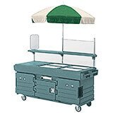 Granite Green, Mobile Food Kiosk with Umbrella, 4 Food Pan Wells