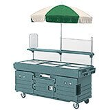 Granite Green, Mobile Food Kiosk with Umbrella, 6 Food Pan Wells