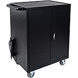 Black, Steel 32 Phone / Tablet / Small Laptop Multi Device Charging Station Rolling Cart, Lockable