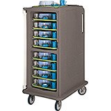 """Granite Sand, Tall Meal Delivery Cart, 14""""x18"""" Trays, 1 Door"""