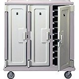 "Gray, Tall Meal Delivery Cart, 14""x18"" Trays, 3 Doors"