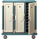 "Granite Green, Tall Meal Delivery Cart, 14""x18"" Trays, 3 Doors"
