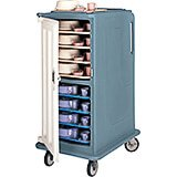 """Slate Blue, Tall Meal Delivery Cart, 15""""x20"""" Trays, 1 Door"""