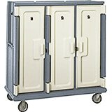 "Granite Gray, Tall Meal Delivery Cart, 15""x20"" Trays, 3 Doors"