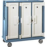 "Slate Blue, Tall Meal Delivery Cart, 15""x20"" Trays, 3 Doors"