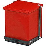 Red, Baked Epoxy Commercial Step On Trash Can, 16 Qt