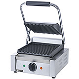 "Stainless Steel Panini Press, 8.5"" X 9.25"" Grooved Grill Plates"