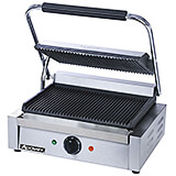 "Stainless Steel Panini Press, 13.25"" X 9.25"" Grooved Grill Plates"
