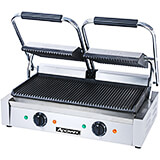 Stainless Steel Double Grill Panini Press, Grooved Grill Plates