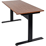 "Black and Teak, Steel 27.5"" To 44.5"" Height Adjustable Desk, 48"" Long Pneumatic Sit Stand Desk"