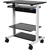 "Black, Steel 34.5"" To 45.5"" Height Adjustable Desk, 29.5"" Long Sit Stand Desk W/ Keyboard Tray & Middle Shelf"