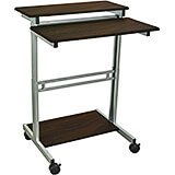 "Black and Gray, Steel 34"" To 46"" Height Adjustable Desk, 31.5"" Long Sit Stand Desk with Keyboard Tray"